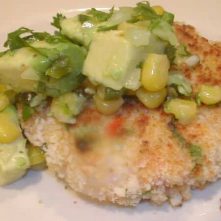 shrimp cakes with avocado corn salsa