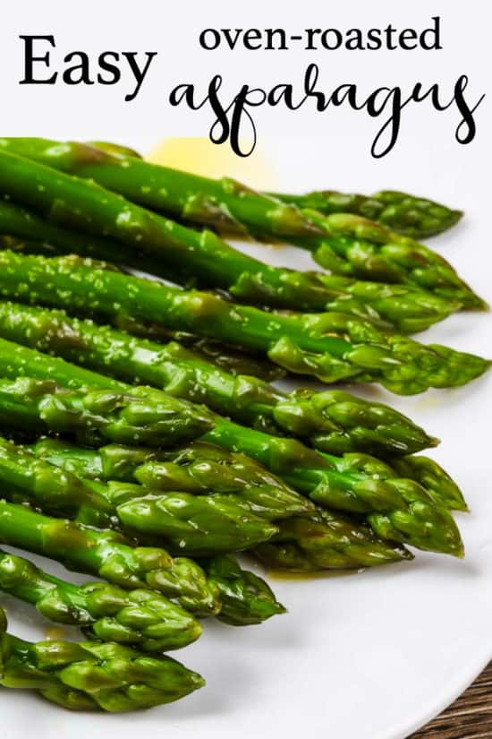 a plate of oven-roasted asparagus PIN for pinterest