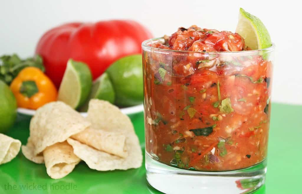 This Roasted Tomato Salsa couldn't be easier but has a wonderfully smoky flavor, both from roasting the tomatoes and from smoky chipotle peppers.
