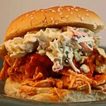 Shredded Buffalo Chicken Sandwiches with Blue Cheese Celery Slaw