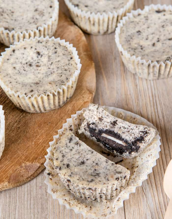 Fresh baked oreo cheesecakes in muffin forms