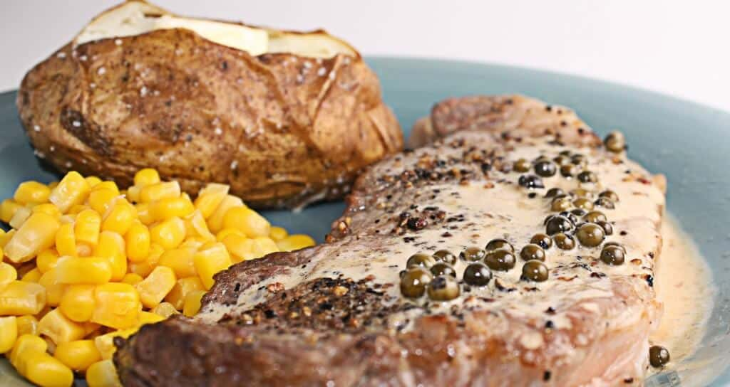 strip steaks with pepper cream saucy by way of Alton Brown