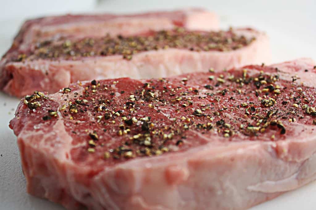 seasoned steaks by way of Alton Brown