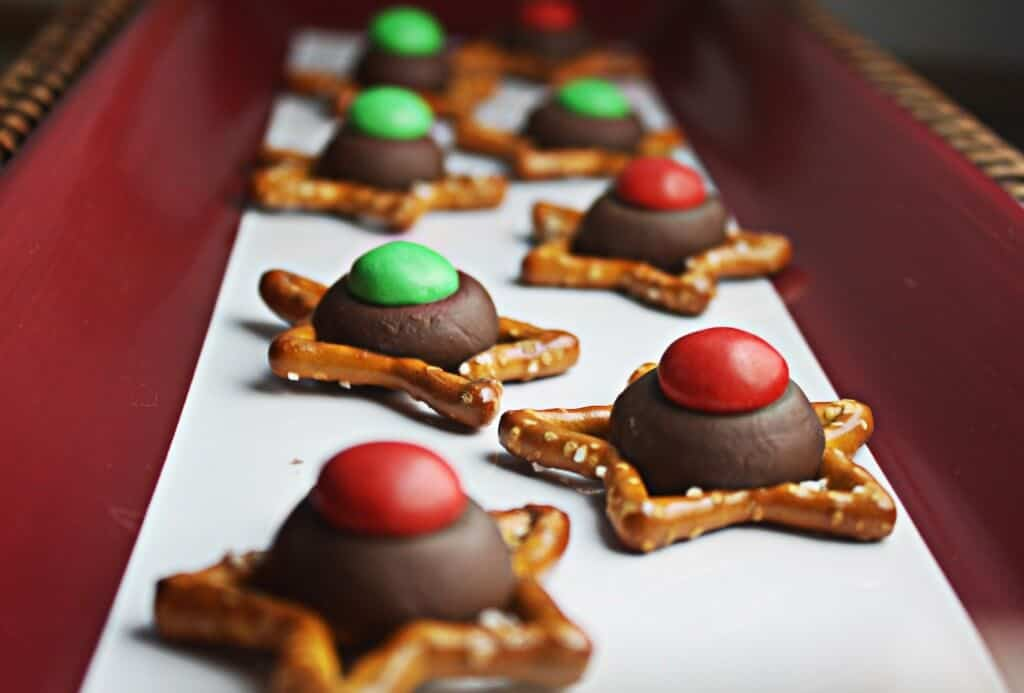 Easy Christmas Cookies on a red and white tray