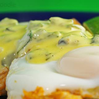 Sweet Potato-Chicken Hash and Poached Eggs with Green Chile Hollandaise