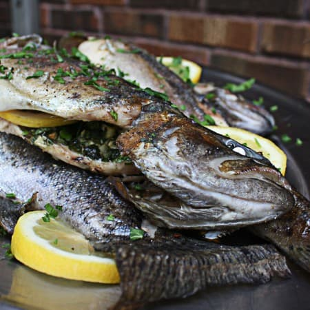 Grilled Trout with Fresh Herbs, Garlic and Lemon