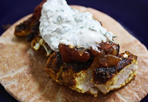 spiced tandoory chicken with grilled tomato jam and herbed yogurt sauce