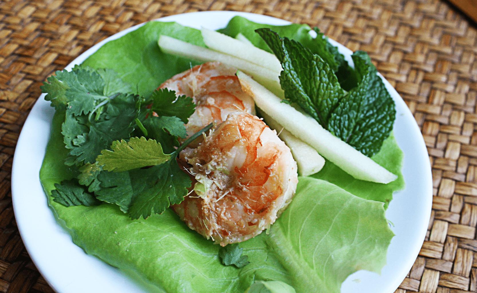 Lemongrass Shrimp with Minted Apples