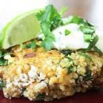 Chipotle Stuffing Cakes with Lime-Cilantro Sour Cream