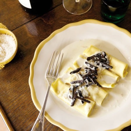 Goat Cheese Cannelloni with Morels and Truffles