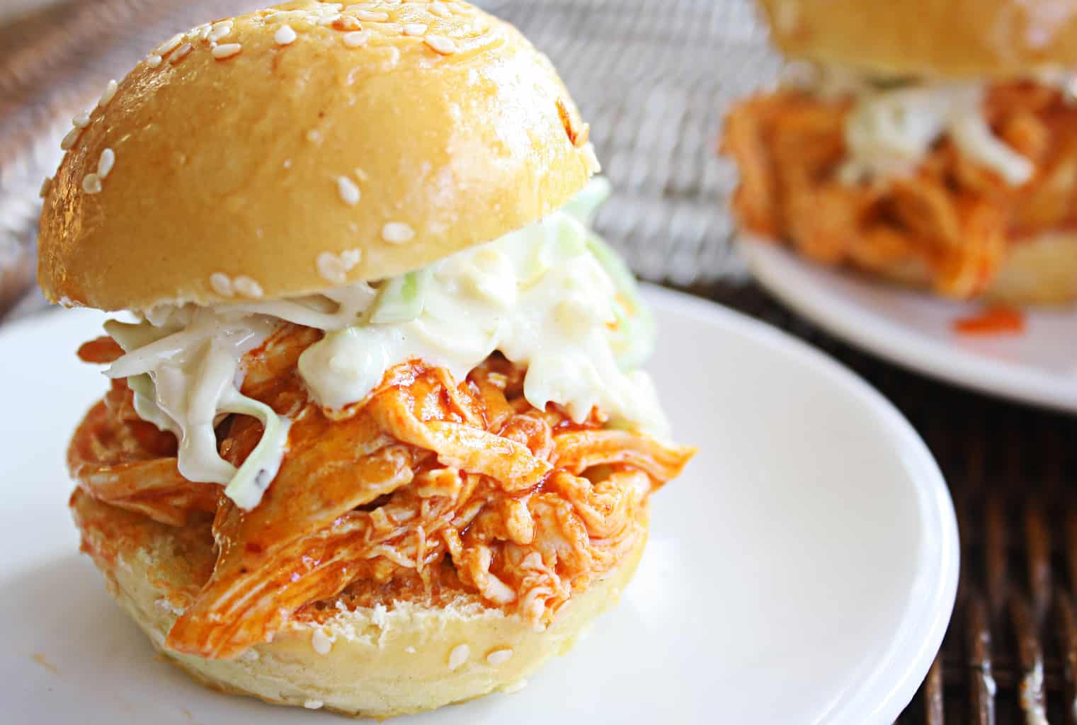 Shredded Buffalo Chicken Sliders With Blue Cheese Celery Slaw