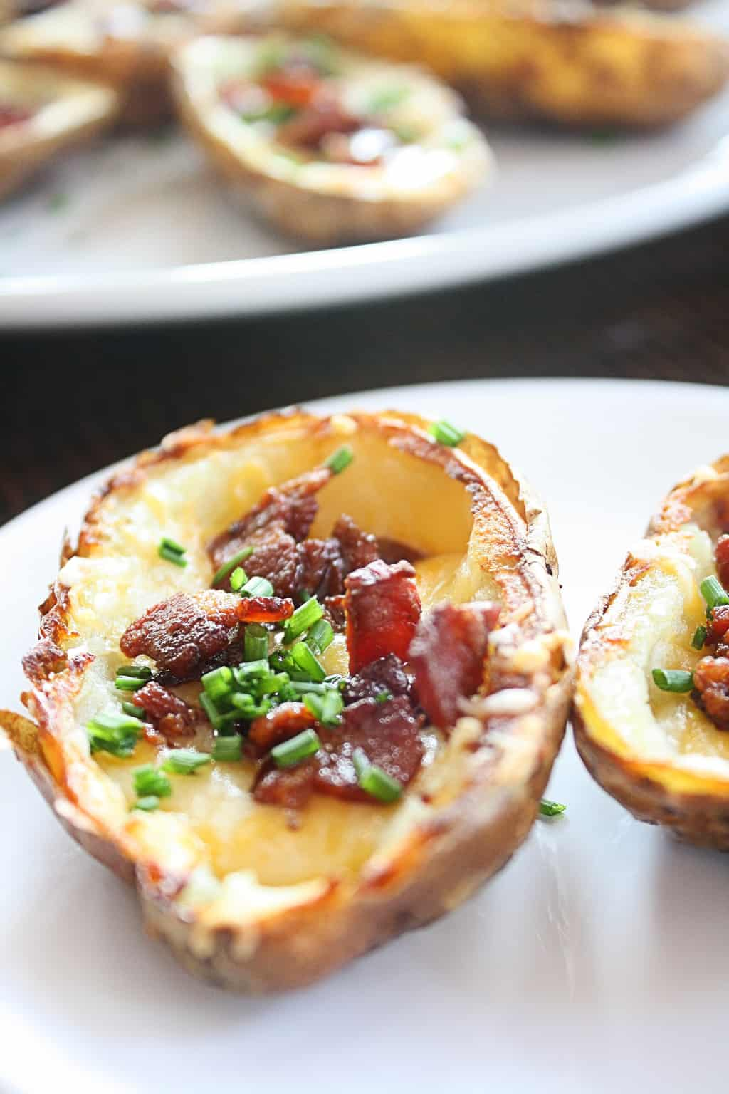 No one likes flabby, flavorless Baked Potato Skins. This recipe turns out crispy, flavorful loaded baked potato skins that you'll love!