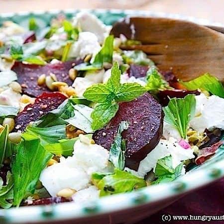 Roasted Beet Salad with Feta, Walnuts & Mint