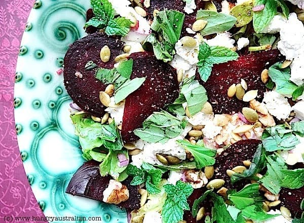 This Roasted Beet Salad is made with Feta, Walnuts and Mint for an amazing flavor combination!