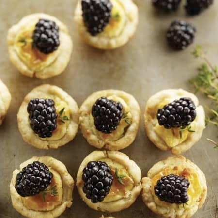 Mini Cheese Tarts with Blackberries