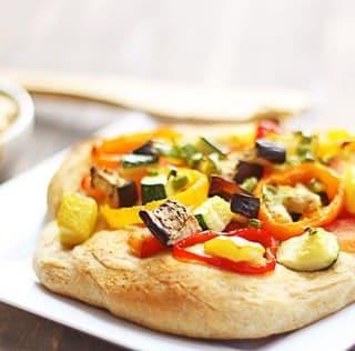 smoky garlic mustard & roasted veggie mini pizzas