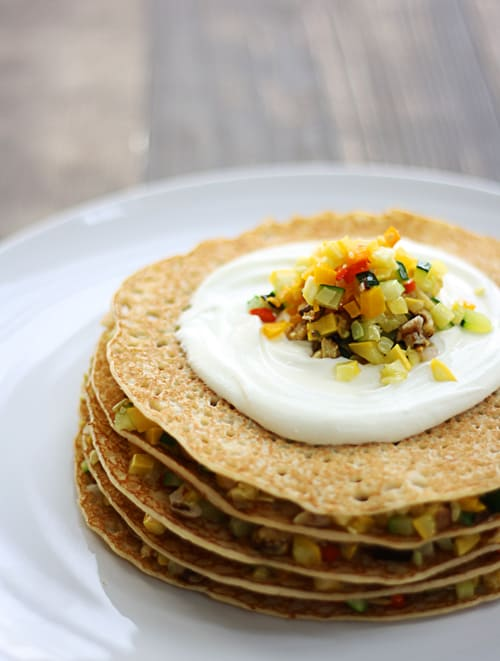 Crepes With Vegetables And Goat Cheese Recipe — Dishmaps