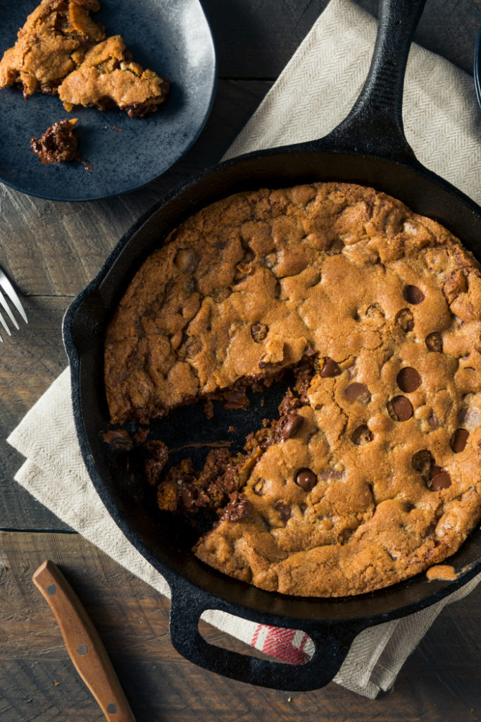 Hot Homemade Chocolate Chip Skillet Cookie Ready to Eat