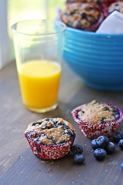 Try this easy Blueberry Muffin Recipe with Oatmeal. It's easy to make a double batch and freeze some for easy breakfasts and snacks. Healthy and delicious!