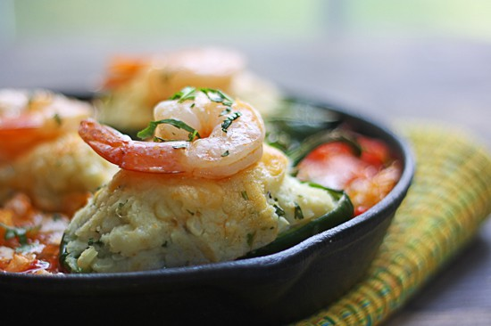 roasted shrimp and stuffed poblanos