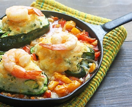 Stuffed Poblanos with Potatoes and Shrimp