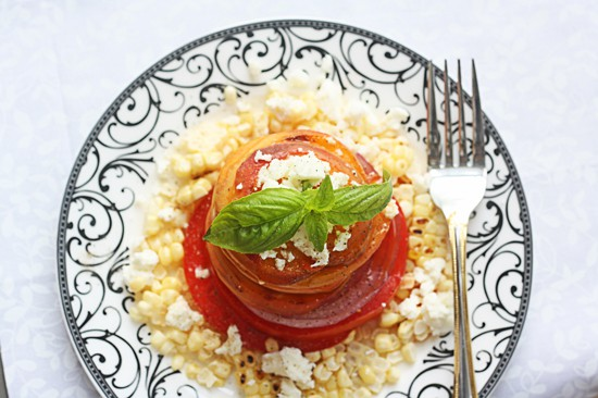 peach, corn and feta salad