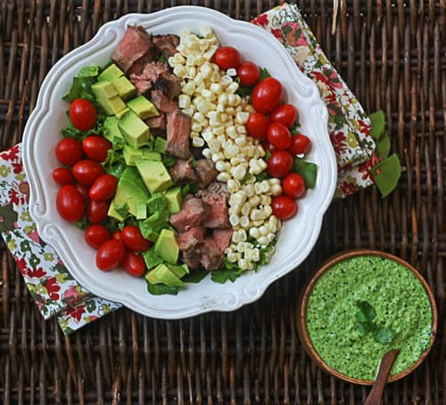 steak salad with cilantro-jalapeno pesto