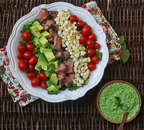 steak salad with cilantro-jalapeno pesto