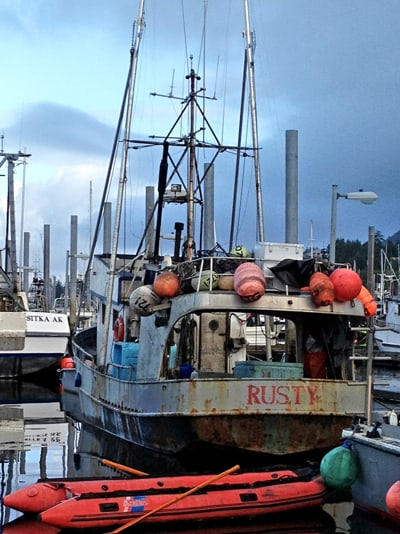 boat in sitka harbor