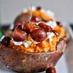 sweet potatoes with goat cheese, honey & roasted grapes