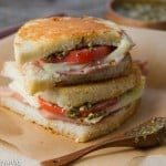 parmesan-crusted grilled cheese with prosciutto, pesto and tomatoes