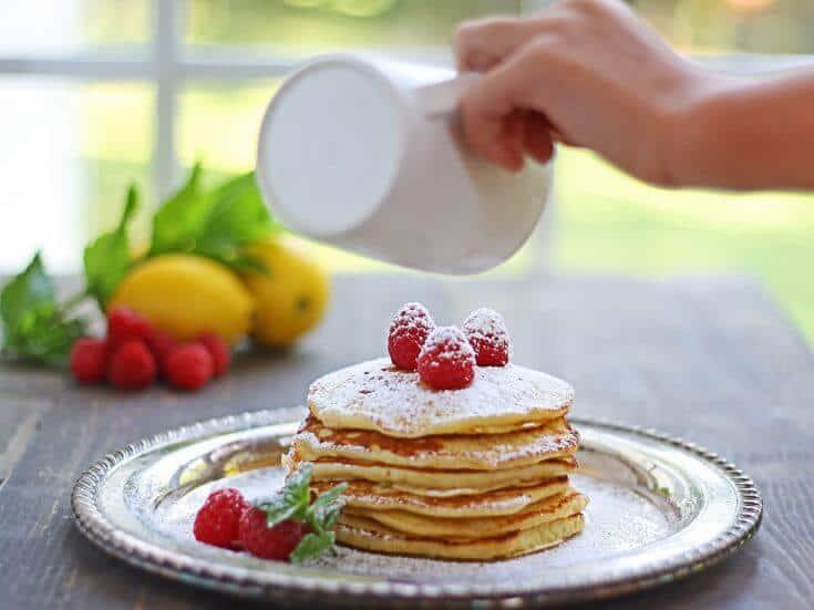 Lemon Ricotta Pancakes with Fresh Raspberries