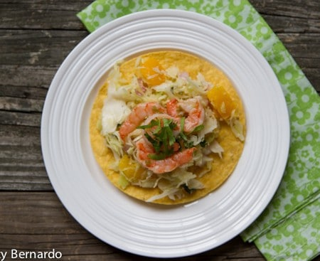 grilled shrimp tostadas with jalapeno mango slaw