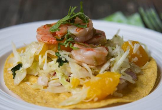 Grilled Shrimp Tostadas with Jalapeno-Mango Slaw