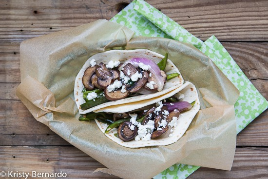 mushroom and poblano tacos with goat cheese
