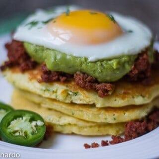 chorizo & guacamole corn cakes