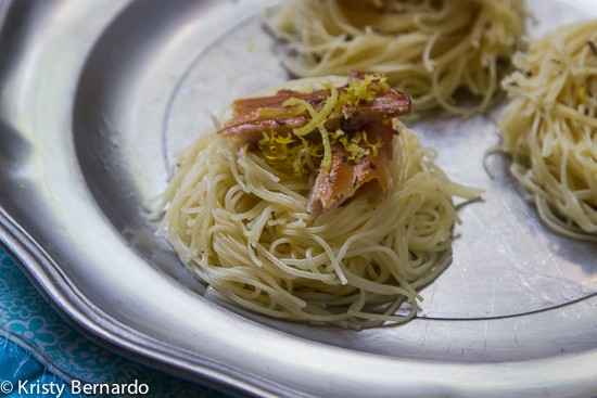 Angel Hair Nests with Lemon and Smoked Trout