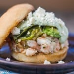 shrimp cake tortas with cilantro sauce, guacamole & queso fresco