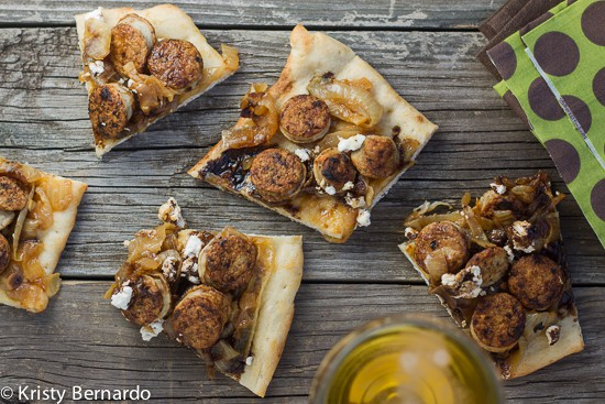 brat & balsamic flatbreads with caramelized onions and goat cheese #oktoberfest