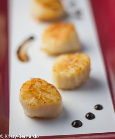 sea scallops with cranberry-balsamic pan sauce