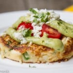 Mashed Potato Cakes with Smoky Avocado Sauce & Cotija Cheese