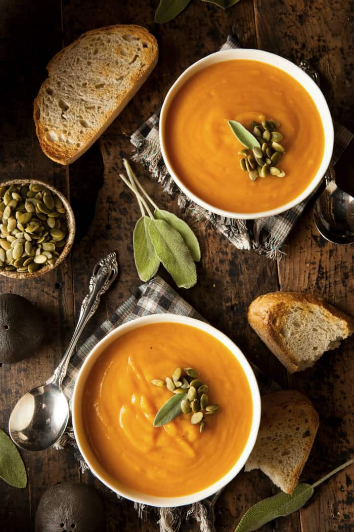 Homemade Butternut Squash Soup with Bread