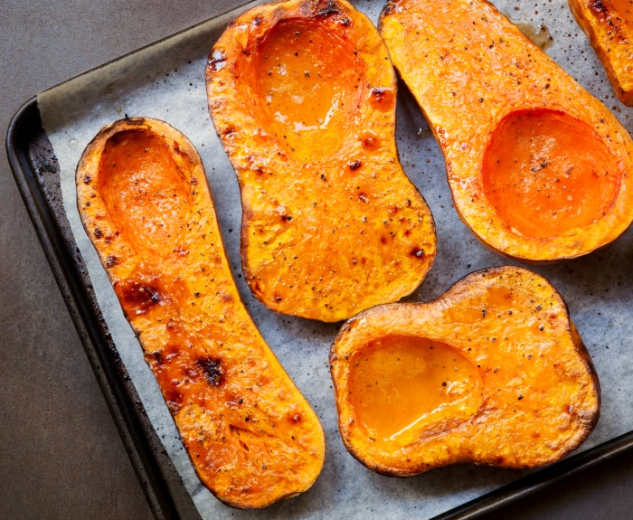 Roasting butternut squash, for a warming soup.