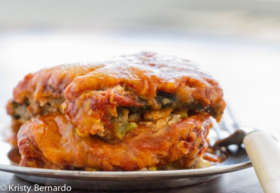 This Chili Relleno Casserole has a layer of beef, onion & cumin with roasted peppers and a layer of gooey cheese.