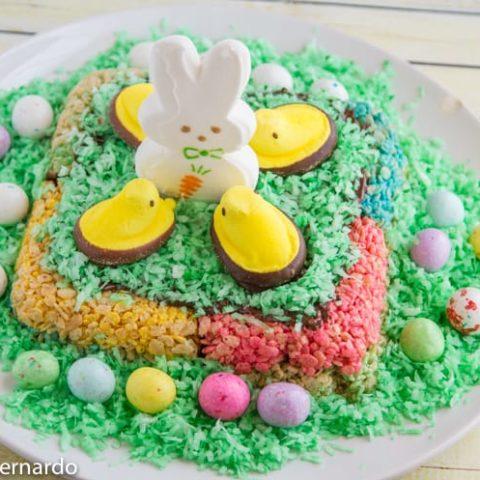 rice krispies peeps easter cake