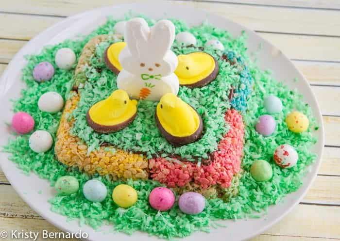 rice krispies peeps easter cake