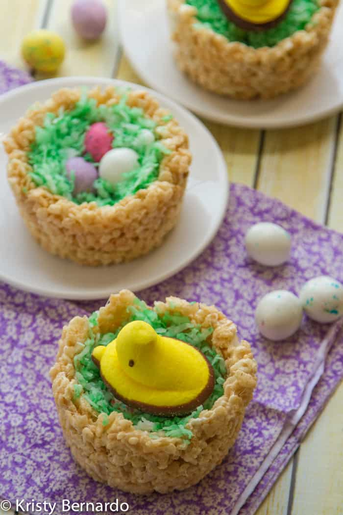 rice krispies easter nests - a chick sitting on easter eggs :)