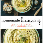 a bowl of hummus with text for pinterest