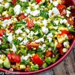 chopped veggie salad with lemon-garlic dressing