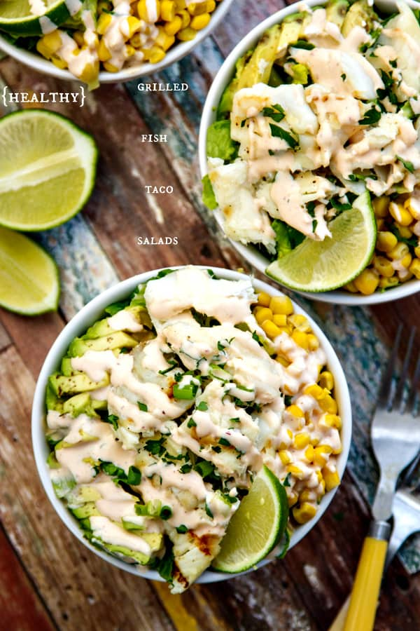 healthy fish taco salads! SO good - you'll never think about all the great nutrients & omega-3's you're getting! | www.thewickednoodle.com | #salad #healthy #fish